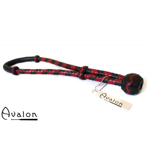 Avalon - CYCLOPS - Svart og Rød Loop Pisk i Lær
