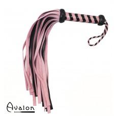 Avalon - HEIR - Rosa og Sort Flogger med 36 Haler i Semsket Lær